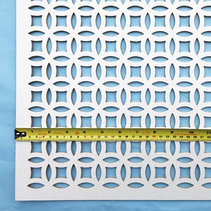 Filigree white faced perforated MDF screening panel